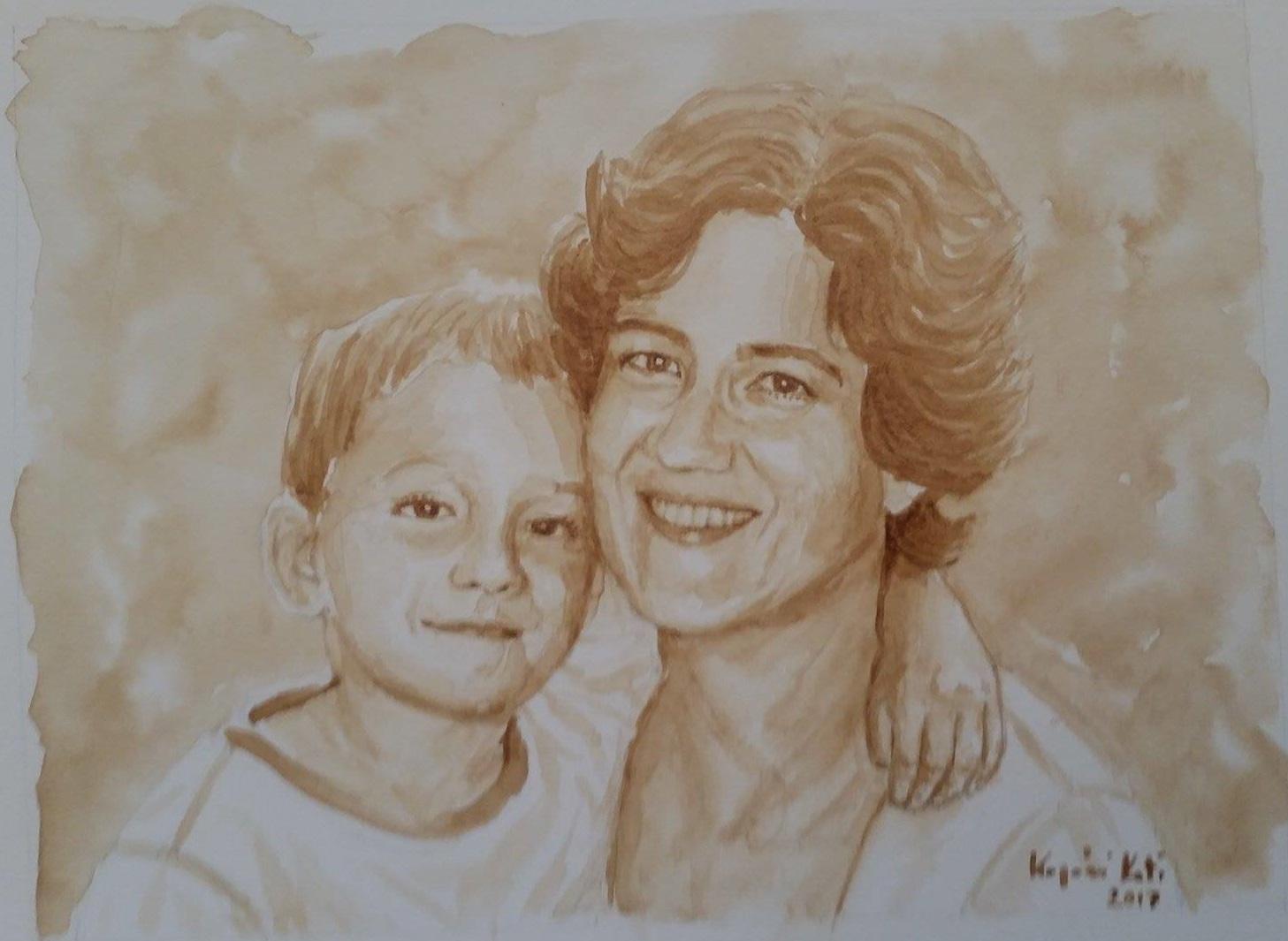 anyai szív, anya gyermekkel,kávéöröm, http://katacafe.hu/ , Kajáriné K.V. Katalin, kávéfestmény, coffeeart, coffeelove, ganodermás kávé, szívbarátkávé, egészségeskávé, wellnesskávé,