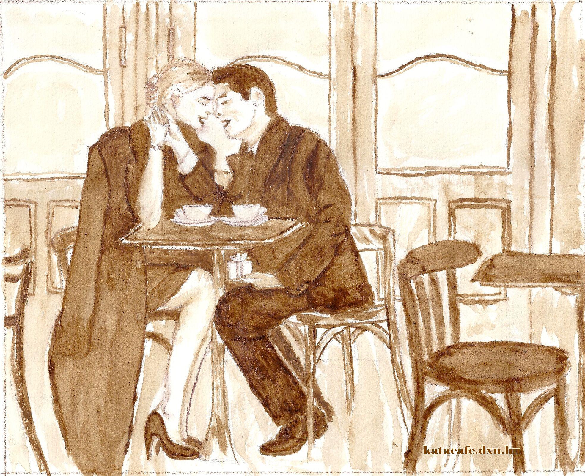 Művészet, festészet, kávéfestés, kávé dxn, ganoderma, kávéház, Kajáriné Katalin, szerelem, boldogság, eljegyzés