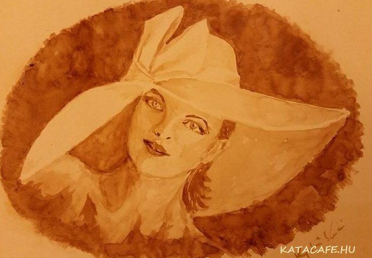 Kávéval festett kép, kávéfestmény,