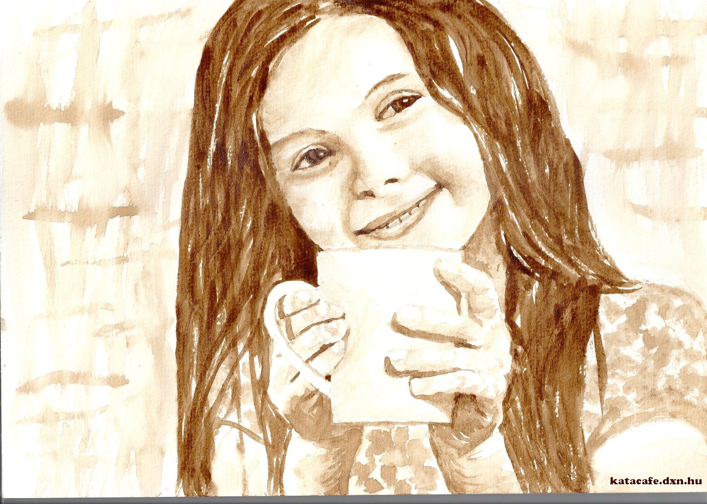 Kávéfestmény, CoffeeArt, művészet, Kajáriné Katalin, Kakaó, Kávé, Kislány, mosoly, nevetés, jókedv