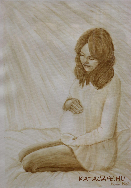 Anyai szeretet, áldás, gyermekáldás, kávéfestmény, kávészenvedély, coffeeart, coffeelove, katacafe